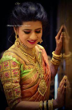 Saree Blouse Neck Designs, Fancy Blouse Designs, Bridal Blouse Designs, South Indian Bride, Indian Bridal, South Indian Blouse Designs, Maggam Work Designs, Bridal Makeover, Bridal Jewellery