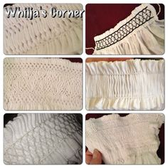 Different kind of smocked cuffs and collars by Whilja