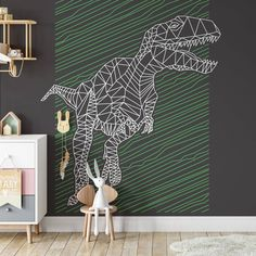 Dinosaur Graphic Removable Wallpaper, Dark Peel and Stick, Kids Bedroom Home Decor, Computer Imagery Wall Cling, Cool T Rex Wall Mural - Smooth Wall Decal / 1 roll: 24W x 108H