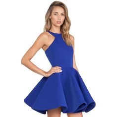 SheIn(sheinside) Blue Sleeveless Halter Flare Dress ($15) ❤ liked on Polyvore featuring dresses, sheinside, blue, halter top, blue fit-and-flare dresses, blue dress, a line dress and skater dress