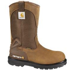 Carhartt Waterproof Wellington Pull-On Work Boots - Steel Toe, Bison Pull On Work Boots, Good Work Boots, Steel Toe Work Boots, Cool Boots, Men's Boots, Welding Boots, Welding Ppe, Comfortable Steel Toe Boots, Carhartt Boots