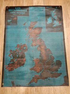 Carte de géographie vintage : carte physique des Iles Britanniques et de L'U.R.S.S.