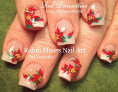 Red Poinsettia Nail Art Design |  Easy Christmas Nails Tutorial