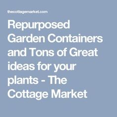 Repurposed Garden Containers and Tons of Great ideas for your plants - The Cottage Market