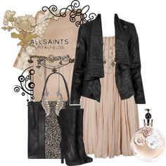 Cute outfit! I love feminine, delicate pieces mixed with leather!