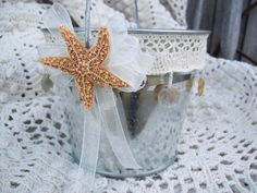 Rustic Beach Flower Girl Bucket Natural Beach Wedding by OneFunDay, $24.00