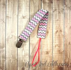 Buy Chevron Pink Grey and White Pacifier Clip Soothie Clip by piperandlilith. Explore more products on http://piperandlilith.etsy.com