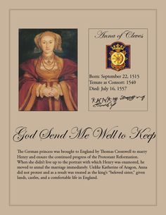 Anne of Cleves plaque, with her badge, motto, and tenure.