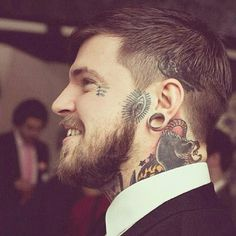 man with cool face tattoos, man with tattoos in a suit Cool Face Tattoos, Love Tattoos, Beautiful Tattoos, Body Art Tattoos, Tattoos For Guys, Neck Tattoos, Sweet Tattoos, Tatoos, Beard Tattoo