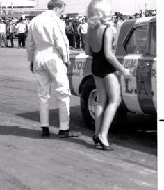 Linda Vaughn Miss Hurst Golden Shifter and Wild Bill Shrewsberry with his L.A. Dart. Niagara Dragstrip