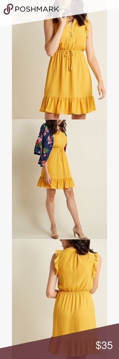 8777a77c31d MC Chiffon Ruffle Dress in Goldenrod ✨ Perfect for Easter