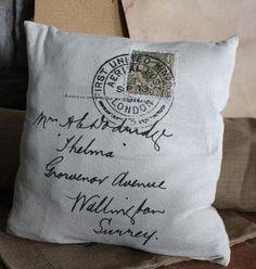London Postmark Pillow w/ Insert  Measures 15x15  $29.00  www.detailsforhomeandgarden.com