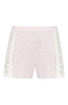 Pink Crochet Pajama Shorts