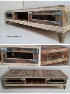 Extraits de bois de fins de chantiers se muent en banc tv au design champêtre revisité pour un coin télé anecdotique