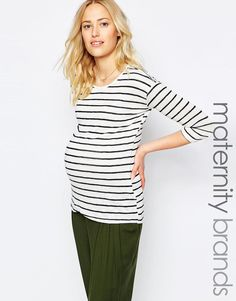 New Look Maternity   New Look Maternity Stripe Hem Wrap Top at ASOS  Schwangerschaft, Wraps edb3bfd8ed27