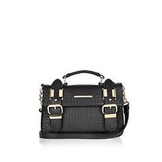 $44 Black mini embossed satchel handbag