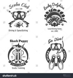 Scuba diving club labels set. Underwater swimming logos. Sea dive, shark and spearfishing, vector illustration