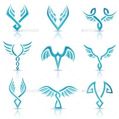 Buy Glossy Blue Wings Icons by cidepix on GraphicRiver. Vector illustration of blue abstract wings icons isolated on a white background. A set of shiny wings symbols and cl. Free Vector Illustration, Free Vector Art, Wings Icon, Phoenix Bird Tattoos, Eagle Wings, Bird Logos, Wings Logo, Blue Wings, Symbolic Tattoos
