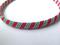 Red Green #Christmas Stripe Wrapped #Headband #Etsy #Handmade #CupcakesClipShop