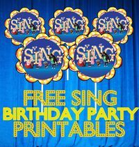sing movie free birthday party printable files kids parties free printable files pinterest. Black Bedroom Furniture Sets. Home Design Ideas