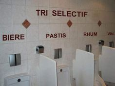 A pee station for each beverage type!