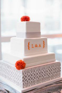 Beautiful Simple Wedding Cake. maybe one big chevron stripe @ bottom layer instead. no initials.