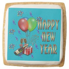 Happy New Year Balloons and Champagne Cookies Square Premium Shortbread Cookie Chocolate Covered Oreos, Party Items, New Years Party, Favor Boxes, Family Holiday, Holiday Parties, Happy New Year, Colorful Backgrounds, Party Supplies