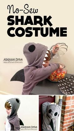 "{No-Sew Shark Costume} Love the simplicity of this... Do you let your kids go out in public all year in costume? I admit I am that mom who has a ""princess"" in March at the grocery store. I love that this design could be used at any time!"