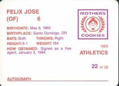 1989 Mother's Cookies Oakland Athletics #22 Felix Jose Back