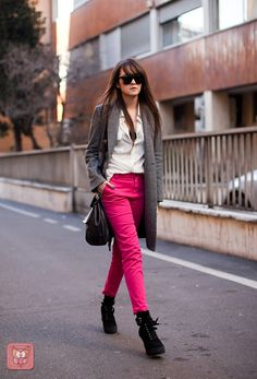 Gray + pink