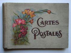 Ancien Album Pour Cartes Postales Vide Motifs Floraux