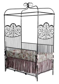 Witching Canopy Baby Cribs For Cute Nursery Room : Wonderful Artistic Silver Iron Corsican Canopy Baby Crib Design Inspiration with Pink Whi...