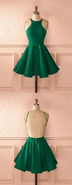 Cute green backless short prom dress, homecoming dress,PD2069