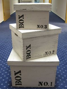 Sada 3 úložných krabic s víkem Wood No. 1,2,3, čtverce