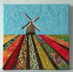 Art quilt, tulip fields with windmill
