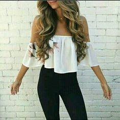 Best Women Shoes on Style Me: nice 39 Off Shoulder Outfits for You to Look Fabulous Komplette Outfits, Spring Outfits, Trendy Outfits, Fashion Outfits, Fashion Sites, Sexy Casual Outfits, Hippie Outfits, Girly Outfits, Ootd Fashion