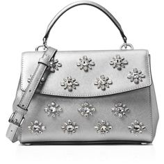 Michael Michael Kors Ava Small Jewel Metallic Top Handle Satchel (6.275 CZK) ❤ liked on Polyvore featuring bags, handbags, white satchel handbags, sparkly purses, mini handbags, white purse and mini purse