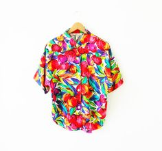Vintage Tropical Fruit Blouse / Bright and by thehappyforest