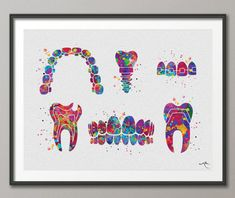 This listing available on CANVAS with this link https://www.etsy.com/uk/listing/560209974 Dentist Art Watercolor Print Tooth Teeth Anatomical Dental Cabinet Office Dentistry Dental Implant Orthodontic Orthodontist Teeth Braces ♥ Please note that the FRAME HERE IS NOT INCLUDED IN THE SALE,