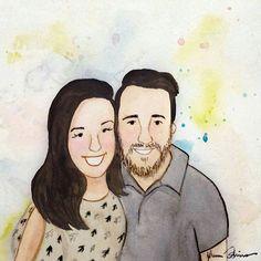 Agora eu e o Luís somos um quadrinho em aquarela feito pelas mãos da linda e talentosíssima @yumioshiro.art   Ansiosa pra decorar algum cantinho do @apto44b com ele 😍