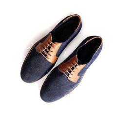 Lonesome Detail, Modèle Roger #shoes #men #blue #brown #derbies #derbie #bleu #marron