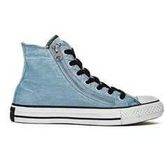 Converse All Star High-Top Sneaker - Denim Double Zip found on Polyvore