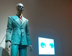 """The slender blue suit worn for Bowie's """"Life on Mars?"""" 1972 video. Bowie reportedly had a 26-inch waist at the time."""