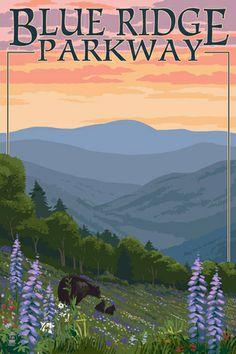 Lake Placid, New York - Adirondacks Mountains - Bears & Spring Flowers - Lantern Press Artwork Giclee Art Print, Gallery Framed, Espresso Wood), Multi Crater Lake National Park, Shenandoah National Park, Smoky Mountain National Park, National Parks, Poster Vintage, Vintage Travel Posters, Crater Lake Oregon, Park Art, Great Smoky Mountains