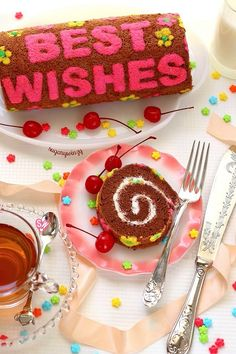 Bake a message on a delicious chocolate roll cake to make it truly special, then fill it with a creamy, cherry-flavored marshmallow filling. Chocolate Roll Cake, Cake Flour, Cake Batter, Delicious Chocolate, Serving Plates, Melted Butter, How To Make Cake, Marshmallow, Cocoa