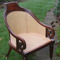 Cane chair and seat repair by Sally Broadway in Bath Somerset. Specialist in traditional hand woven cane repair and restoration of chairs, seats and cane furniture. Chair Repair, French Dining Chairs, Cane Furniture, Vintage Chairs, Upholstered Chairs, Wicker, Restoration, Armchair, Bench