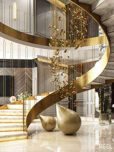 Staircase Design Modern, Luxury Staircase, Stair Railing Design, Home Stairs Design, Mansion Interior, Dream House Interior, Luxury Homes Dream Houses, Interior Stairs, Stairway Lighting