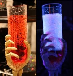 RECIPE: Halloween Glow in the Dark Spooky Drinks. Ingredients: ~~ Tonic Water ~~ Grenadine Syrup (or any flavoring syrup) ~~ Black Light. Halloween Drinks Kids, Halloween Cocktails, Halloween Goodies, Halloween Food For Party, Spooky Halloween, Halloween Treats, Halloween Stuff, Adult Halloween, Happy Halloween