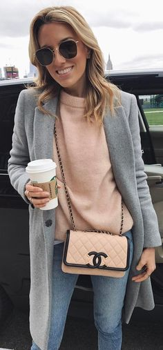 grey_pink_denim outfit / coat + sweater + bag + jeans