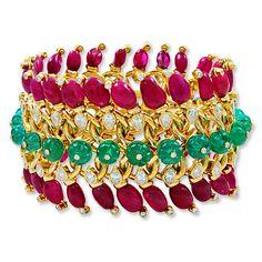 David Webb - emerald, ruby, and diamond bracelet Bangle Bracelets, Bangles, Ruby Bracelet, Mughal Jewelry, Jewelry Accessories, Jewelry Design, David Webb, Fine Jewelry, Fashion Jewelry
